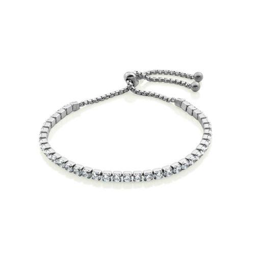 CJ Steelx Cubic Zirconia Double Bar Stainless Steel Bracelet - Silver