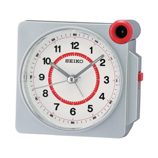 Seiko QHE183S Desk Alarm Clock - White & Red