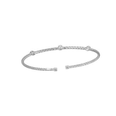 "Charles Garnier Diamondlite Sterling Silver ""DARSI"" Woven Station Cuff Bracelet - Silver"